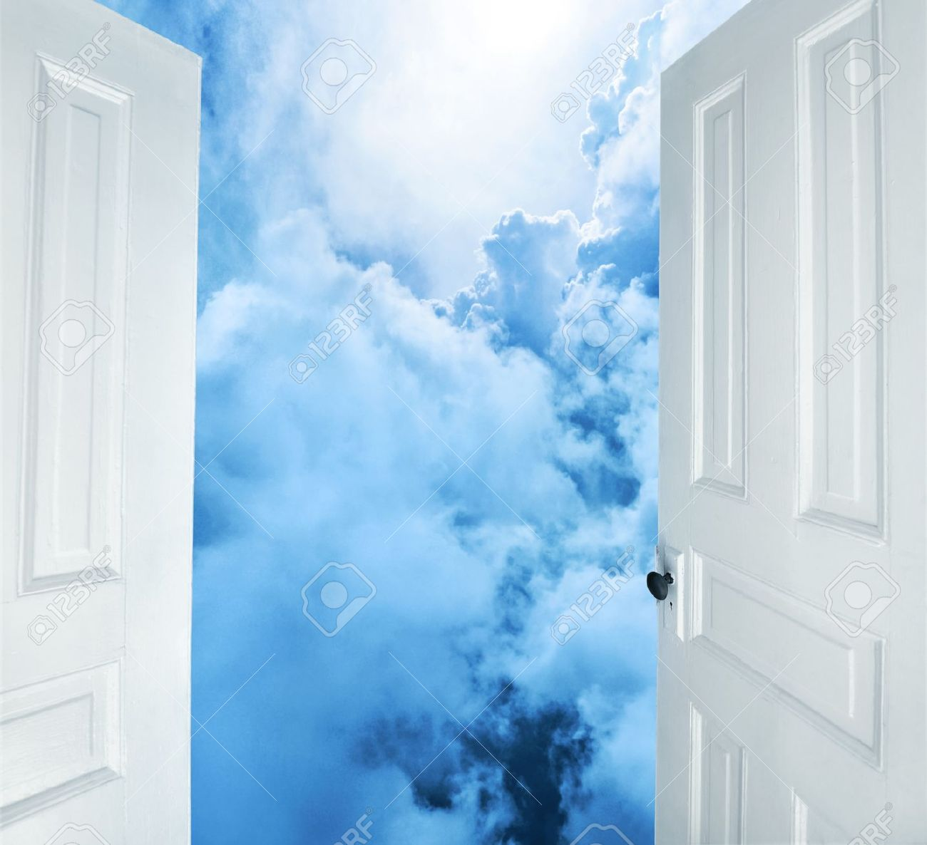 9339607-white-doors-opening-to-dreams-and-success- & The Open Door to Heaven | Heart Dwelling With Jesus