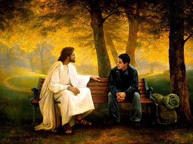 Jesus-and-Man-Sitting-on-Bench