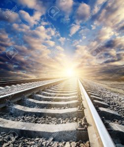 9470498-railway-to-sunny-horizon-Stock-Photo-landscape-journey-heaven