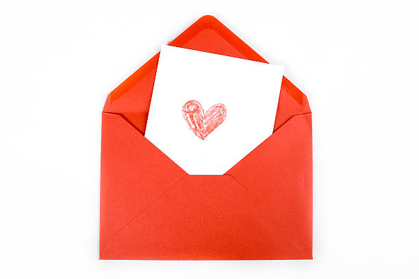 red envelope with a drawn heart
